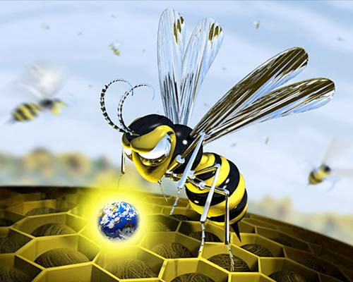 3D Illustration of a Metal Bee